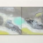 Almost Always two painting to form one, 50cm x 60cm each,  acryllic on canvas Témeř pořád 2 obrazy tvořící jeden, 50cm x 60cm každý, akryl na plátně