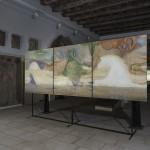 Fragments of Freedom triptych, 150 cm x 165 cm, cement infusion, oil and acrylic on canvas, metallic pigments obrazový triptych, 150 cm x 165 cm, strukturované plátno s betonovou infuzí, olej na plátně, metalické pigmenty