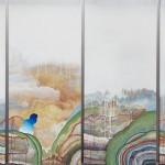 Form of Freedom čtyři obrazy tvořící jeden, 70 cm x 160 cm, akryl a olej na plátně four canvases forming one painting, 70 cm x 160 cm, acrylic on canvas