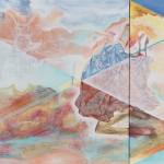 I will... I am   two canvases forming one, acrylic and oil on canvas, 70 cm x 90 cm and 70 cm x 50 cm   Budu...jsem  dvě plátna tvořící jedno, akryl a olej na plátně, 70 cm x 90 cm a 70 cm x 50 cm