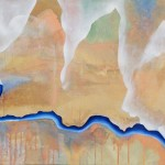 Blue Borders 70 cm x 160 cm, akryl a olej na plátně 70 cm x 160 cm, acrylic on canvas